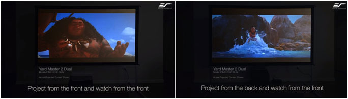 front or rear-projection setup