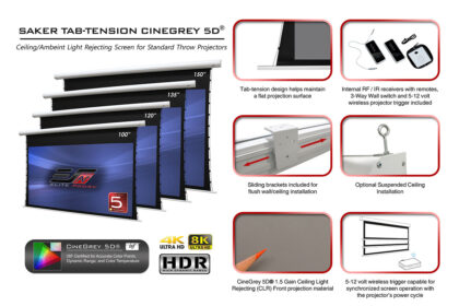 Saker Tab-Tension CineGrey 5D® Electric Screen