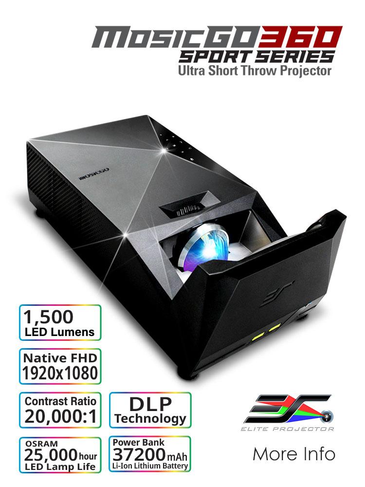 EliteProjector Outdoor Indoor Ultra Short Slow Projector