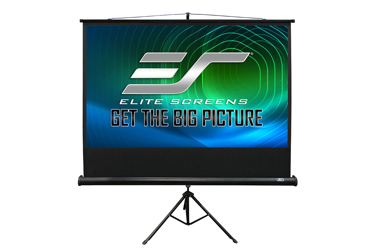 2 in 1 Portable Projector Screen Dual Tripod Stand//Wall Mount Indoor//Outdoor 65-INCH T65SW 1:1 w//Carrying Bag Elite Screens Tripod Lite Wall Series