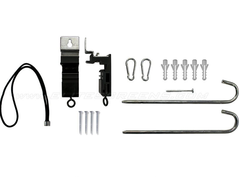 Hardware kit (wall/ceiling brackets | wood screws/anchors | stakes | elastic rope | hooks)