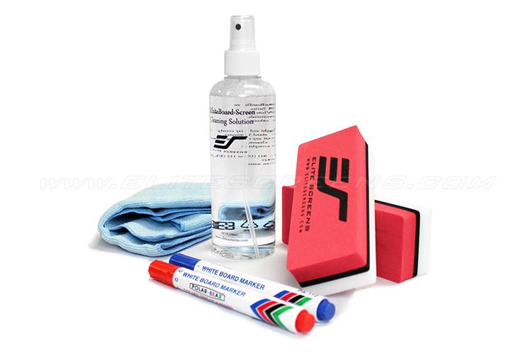 ZER3 : 1 bottle of 8.45 oz. cleaning solution, 1 microfiber cloth, 2 high density foam erasers, 2 sets of blue & red markers
