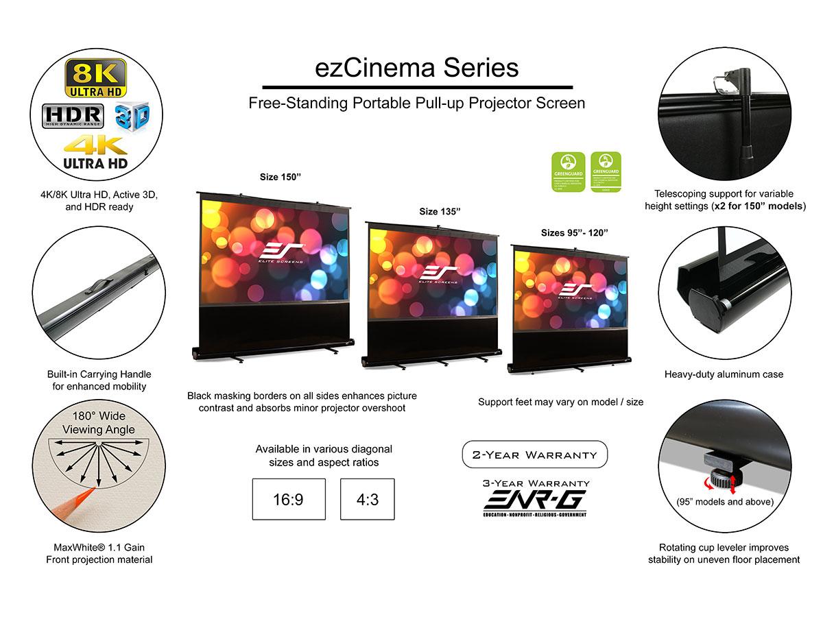 Classroom GXFC 60 inch Projector Screen Manual Pull Down 4K HD ...